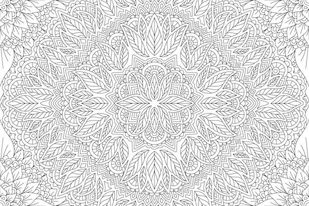 Art en noir et blanc pour cahier de coloriage avec des feuilles