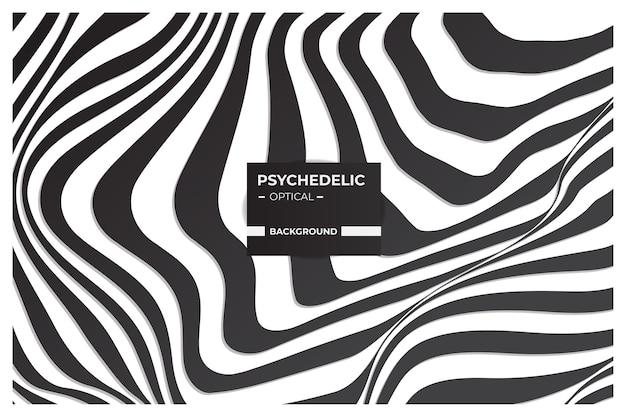 Art optique psychédélique, fond abstrait en noir et blanc avec motif de lignes ondulées