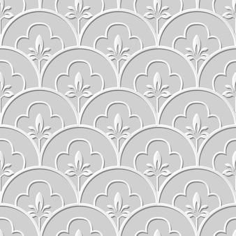 Art de papier 3d modèle sans couture ronde fleur ligne échelle courbe