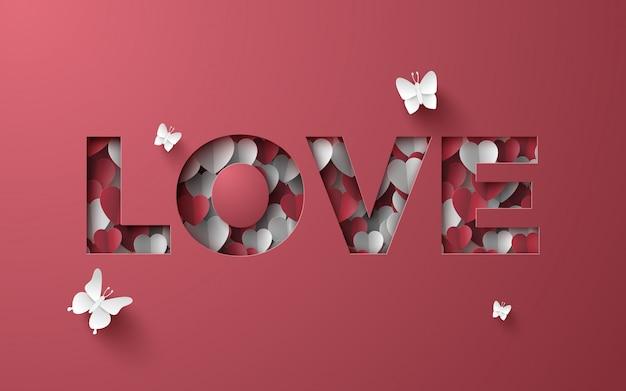Art en papier d'amour couverture en papier mini coeur
