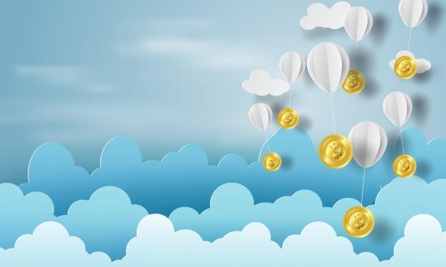 Art papier de ballon avec de l'argent bitcoin sur les affaires