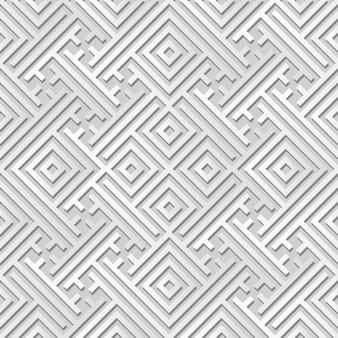Art de papier blanc géométrie spirale vérifier entrelacs croisés, fond de décoration élégante pour carte de voeux bannière web