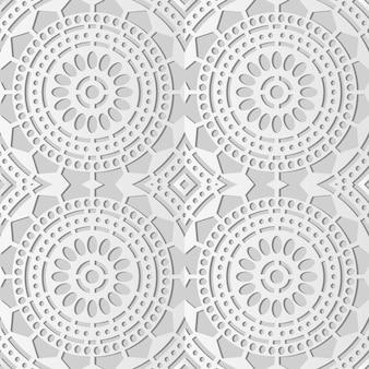 Art de papier blanc rond croix point ligne cadre fleur, fond de décoration élégante pour carte de voeux bannière web