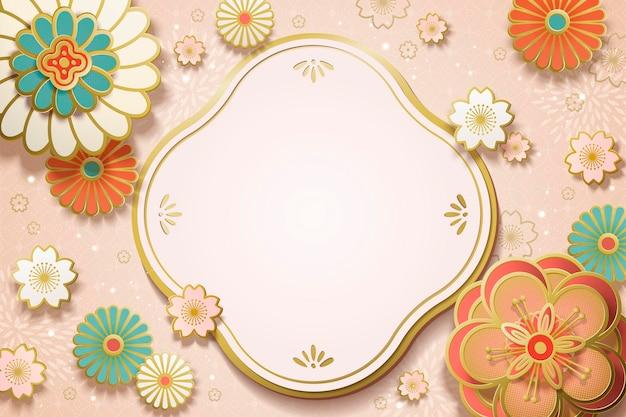 Art de papier de fleur avec l'espace de copie pour des mots de salutation sur le fond rose clair