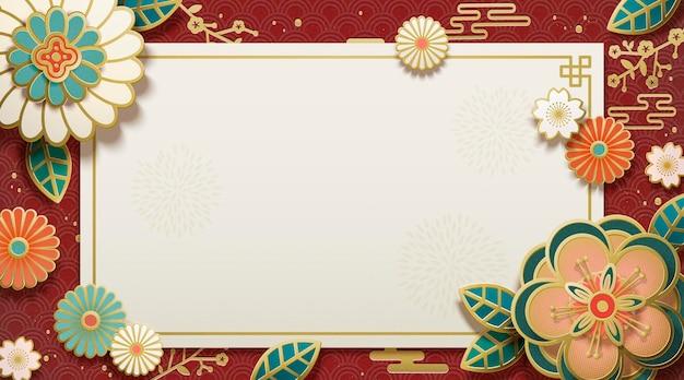 Art de papier de fleur avec l'espace de copie pour des mots de salutation sur le fond rouge écarlate