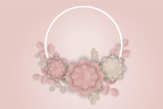 Art de papier fleur rose sur fond rose