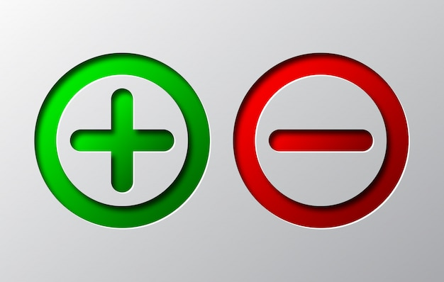 Art de papier de moins rouge et plus vert. illustration vectorielle.