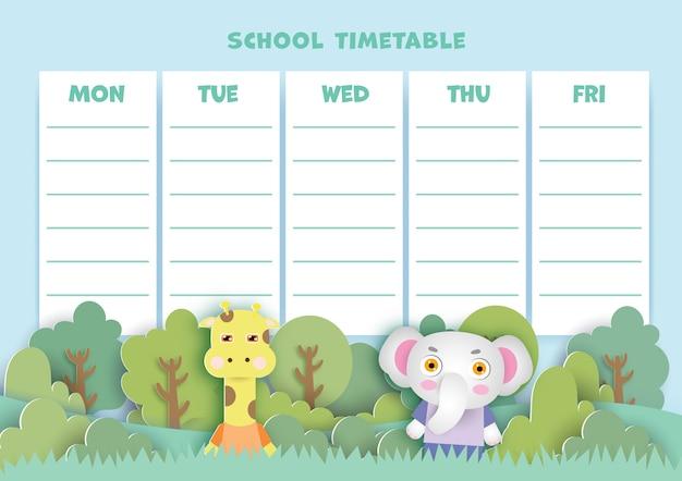 Art de papier retour au calendrier scolaire avec des animaux mignons