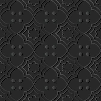 Art de papier sombre courbe croix fleur ligne point, vecteur de fond décoration élégante
