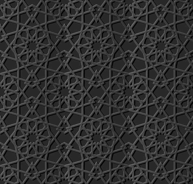 Art de papier sombre géométrie islamique croix motif fond transparent