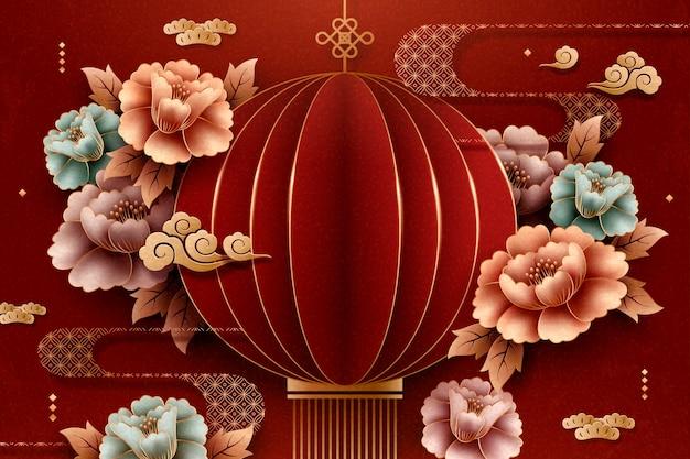 Art de papier de style chinois lanterne rouge et fond de pivoine