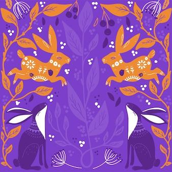 Art populaire scandinave avec lapin, style nordique