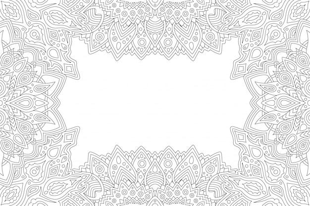 Art pour livre de coloriage frontière rectangle abstrait