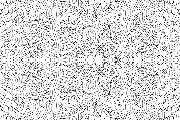 Art pour livre de coloriage avec motif floral linéaire