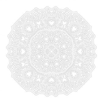 Art pour la page de livre de coloriage adulte avec des formes de coeur, mandala