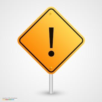 Art de signe exclamatif de route jaune. illustration vectorielle
