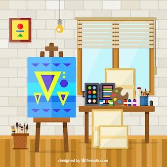 Art studio avec des matériaux d'art