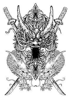 Art de tatouage dargon main dessin noir et blanc