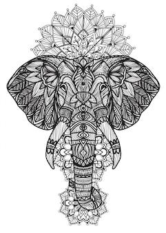 Art de tatouage éléphant thaïlandais main dessin et croquis noir et blanc