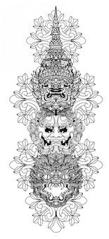 Art de tatouage géant main dessin et croquis noir et blanc