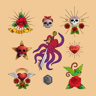Art de tatouage traditionnel avec des fleurs roses,