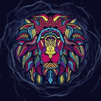 Art de tête de lion de couleur