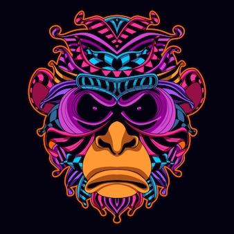 Art de tête de singe dans le style de couleur néon