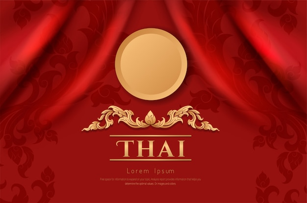 Art traditionnel asiatique design sur tissu couleur rouge
