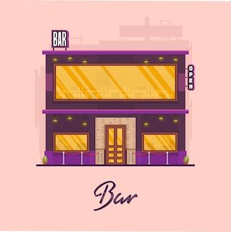 Art de vecteur de bâtiment de bar moderne plat