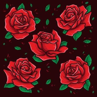Art vectoriel de roses rouges