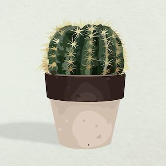 Art vectoriel végétal, pot de cactus