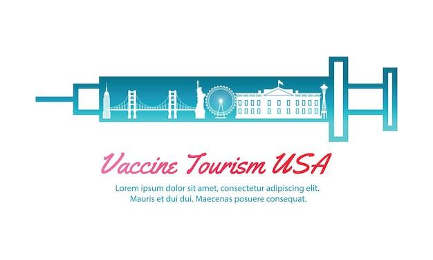 Art de voyage conceptuel du tourisme vaccinal des états-unis