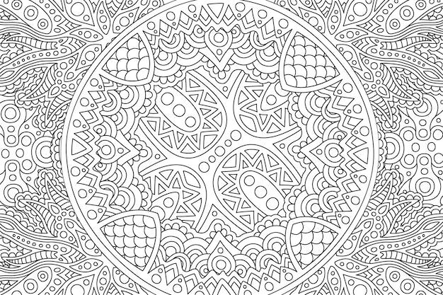 Art zen avec motif linéaire noir et blanc