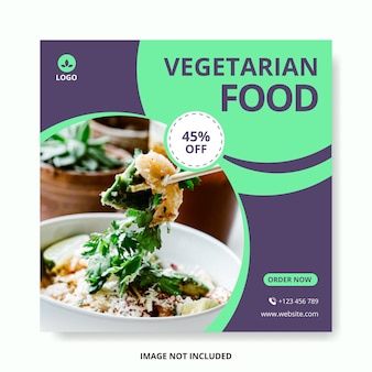 Article de modèle de médias sociaux de nourriture végétarienne