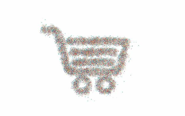 Article de panier d'achat de particules - conception de panier d'achat de boutons