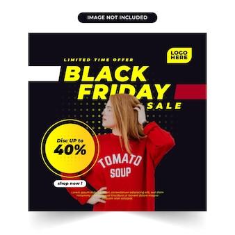 Article de vente vendredi noir et modèle de médias sociaux d'alimentation