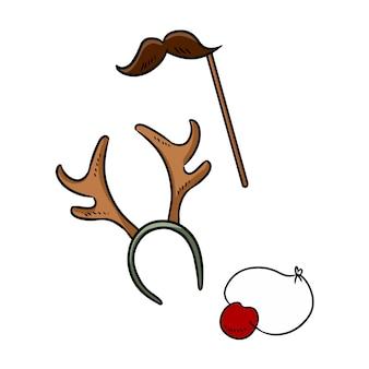 Articles de fête de noël cornes de moustache et éléments de griffonnage du nez de rudolph