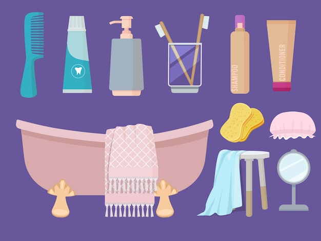 Articles d'hygiène. gel de soin du corps savon évier brosse serviette éponge pâte collection de dessins animés de salle de bain. illustration hygiène corporelle personnelle, savon et dentifrice