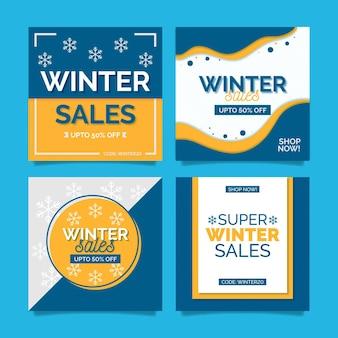Articles sur les médias sociaux des soldes d'hiver