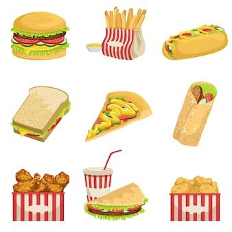 Articles de menu de restauration rapide illustrations détaillées réalistes
