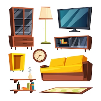 Articles de mobilier de salon. illustrations vectorielles en style cartoon