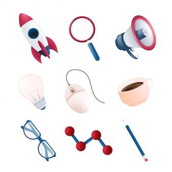 Articles de papeterie ou de bureau vectoriels sertis de fusée volante, élément scientifique, mégaphone, loupe, souris d'ordinateur, tasse à café, crayon, ampoule, verres isolés sur fond blanc