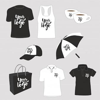 Articles promotionnels. t-shirts, polo, débardeur, sac en papier, tasses, casquette et parapluie.