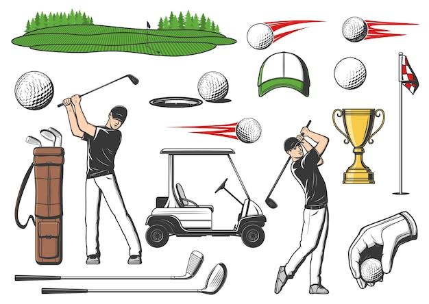Articles de sport pour golfeurs et clubs de golf, icônes d'équipement de jeu vectoriel pour tournoi ou championnat. chariot de club de golf, coupe de la victoire et joueur avec des battes de golf et des épingles sur un green tee ou un putter