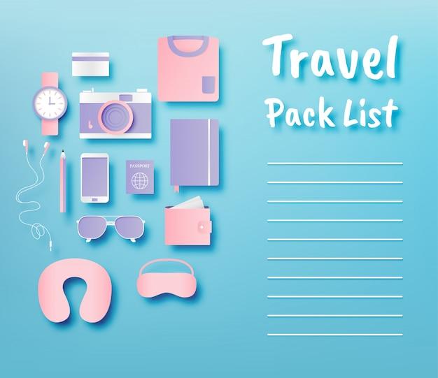 Articles de voyage emballage liste papier art style vector illustration ensemble