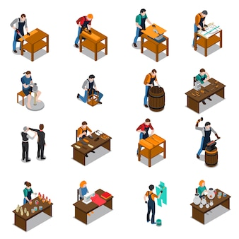 Artisan isometric icons set