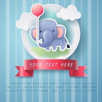 Artisanat en papier de carte de voeux d'éléphant couleur de l'eau