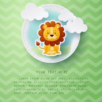 Artisanat en papier de carte de voeux lion couleur de l'eau
