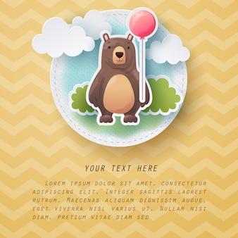 Artisanat en papier de carte de voeux ours couleur aquarelle