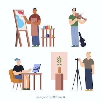 Artiste au travail design plat
